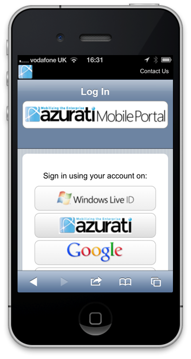 Azurati Mobile Portal Authentication